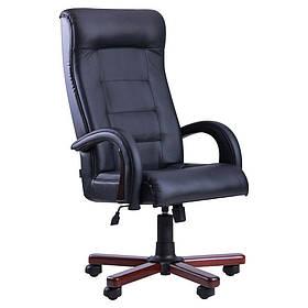 Кресло Роял Люкс орех Кожа Сплит черная (AMF-ТМ)