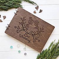 Стильный свадебный альбом для фото и записей в деревянной обложке, фото 1