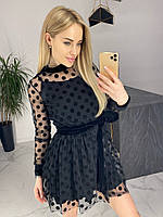 Стильное нарядное платье с сеточкой и бархатной отделкой чёрное 42-44 44-46