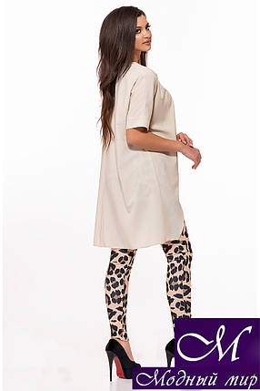 Бежевый женский костюм туника + лосины (р. S-M, M-L) арт. 28-619, фото 2