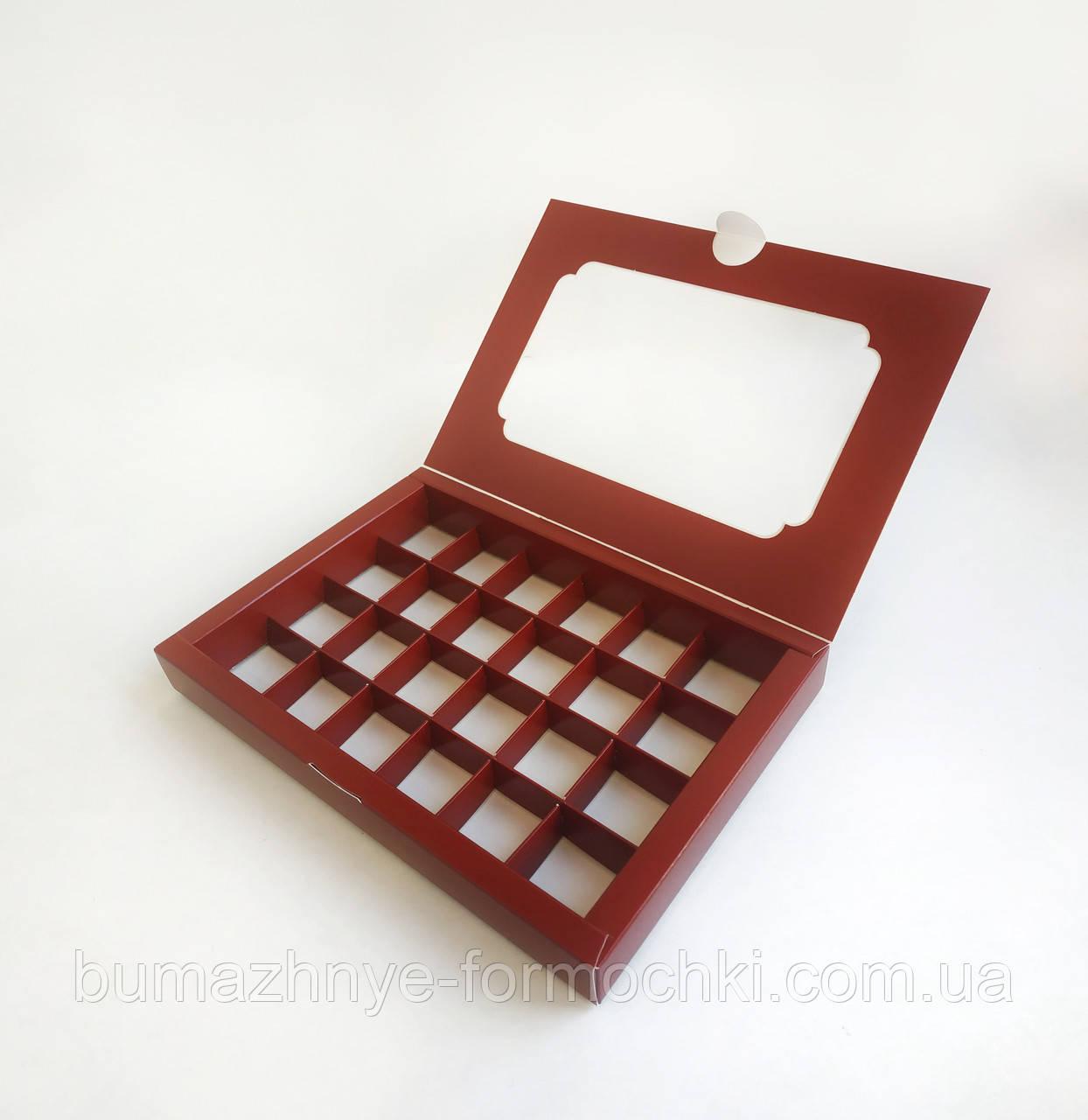 Коробка на 24 конфеты, бордовая, 270*185*30