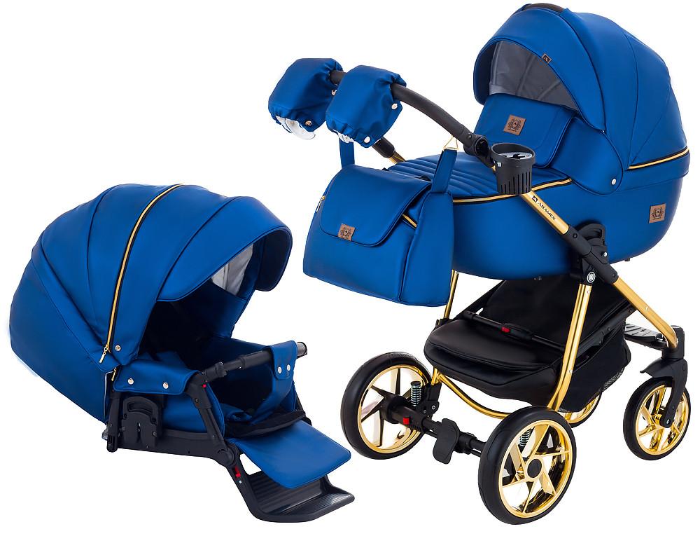 Коляска Adamex Hybryd Plus Polar Gold Шкіра Y220A синій перламутр