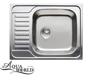 Мойка кухонная нержавеющая сталь 580 мм сатин Aqua-world
