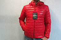 Мужская осенняя куртка Remain 70310 красная с капюшоном код 199б