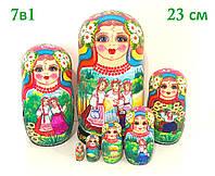 Матрешки из 7 шт большие расписные в украинском стиле, оригинальный подарок из Украины