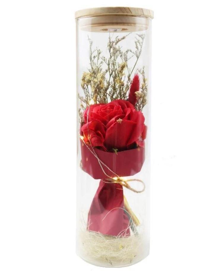Роза в колбе с LED БОЛЬШАЯ КРАСНАЯ №A52 | Стабилизированная роза в колбе с LED подсветкой