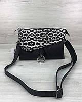 Черная сумка 58004 клатч через плечо с леопардовым клапаном, фото 1