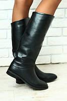 Сапоги женские кожаные черные без каблука