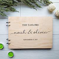 Деревянный свадебный альбом с гравировкой на заказ, фото 1