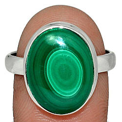 Серебряное кольцо с малахитом, 2241КЦМ