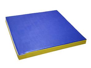 Мат детский гимнастический спортивный 100х100х9 см, кожзам, синий