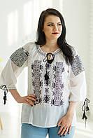 Легка жіноча літня біла етнічна блуза з чорною вишивкою №975-3