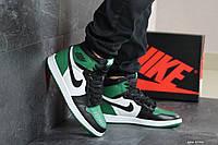 Мужские кроссовки Nike Air Jordan 1 Retro High OG, кожа, зеленые с белым и черным.