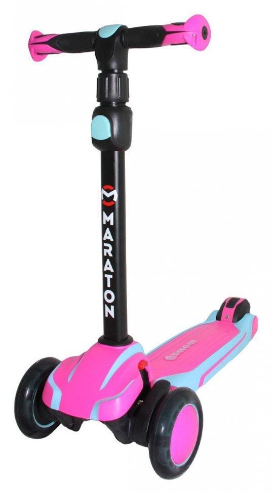 Детский самокат Maraton Global светящ. колеса от 3-х лет розово-голубой