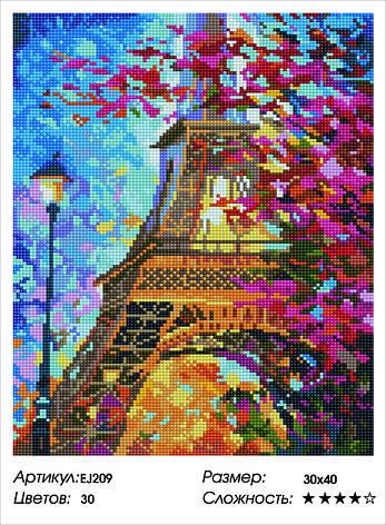 Алмазная живопись 30*40см. EJ209 Весенний Париж Rainbow Art , алмазная мозайка, фото 2
