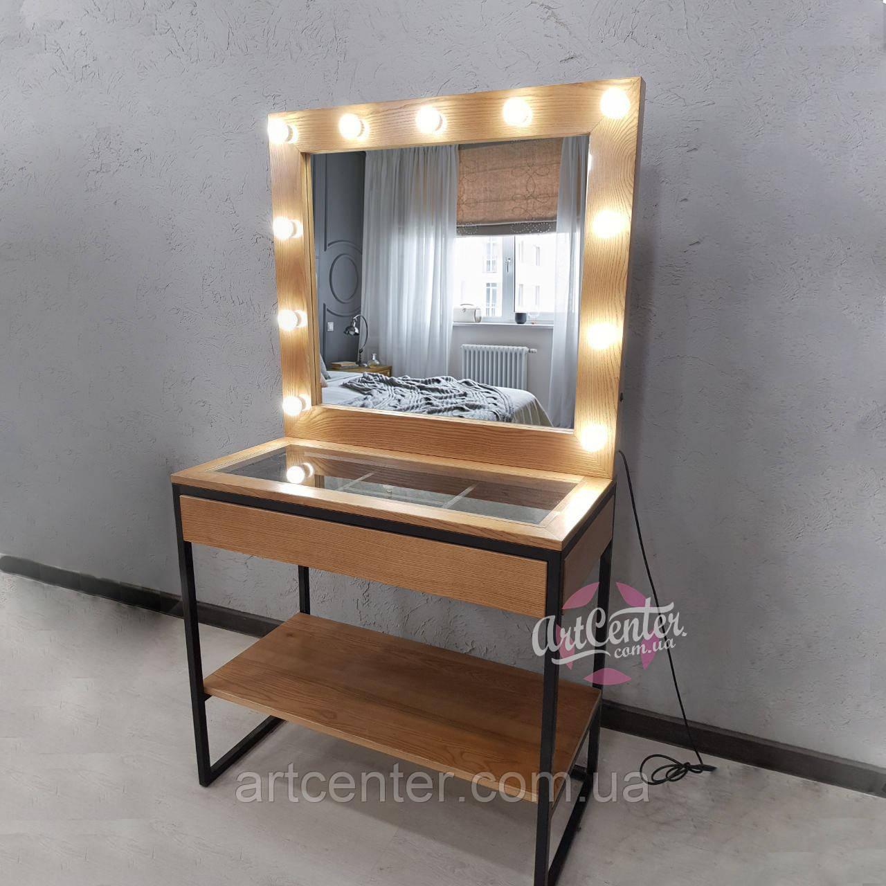 """Стол для визажиста с натурального ясеня в стиле """"Лофт"""", прозрачная столешница, ящик с ячейками"""