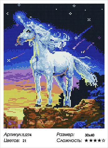 Алмазная живопись 30*40см. EJ274 Сказочный единорог Rainbow Art , алмазная мозайка, фото 2