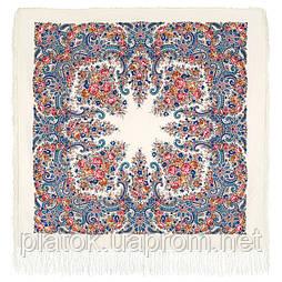 Лира 1720-4, павлопосадский платок шерстяной с шелковой бахромой