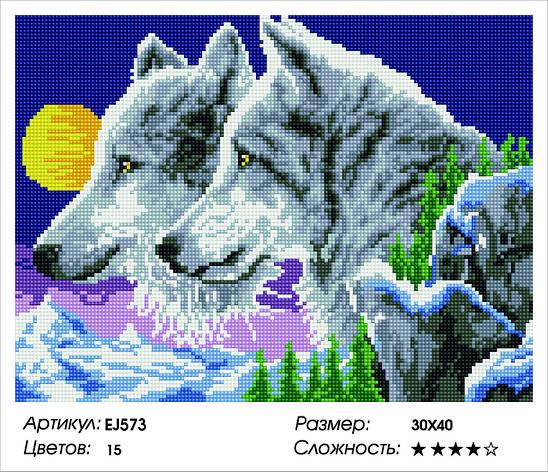 Алмазная живопись 30*40см. EJ573 Семья волков Rainbow Art , алмазная мозайка, фото 2