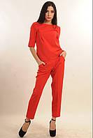 Брючный костюм из костюмной ткани, свободного покроя, укороченные брюки, качественный, осенний , фото 1