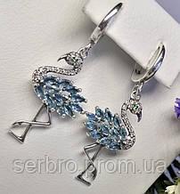 Серебряные серьги с подвесом Фламинго