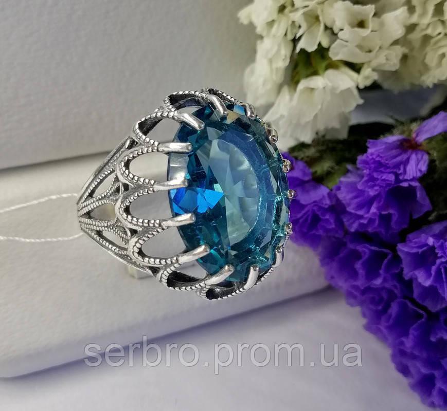 Колечко в сріблі з блакитним фианитом Жозефіна