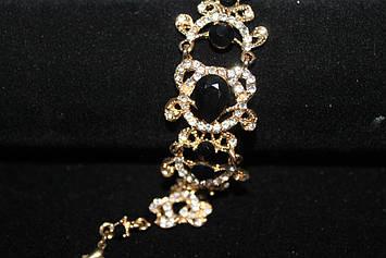 Роскошный браслет золотистый с черными камнями горный хрусталь