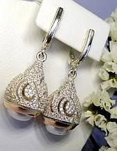 Сережки з підвісом у вигляді булави з перлами Абелія