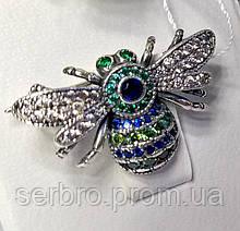 Серебряная Брошь с цветным цирконом Шмель