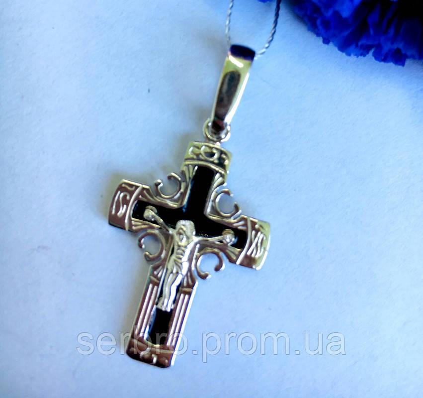 Серебряный крест с  черной эмалью Спаси и Сохрани