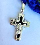 Серебряный крест с  черной эмалью Спаси и Сохрани, фото 2