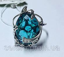 Кольцо в серебре с большим голубым фианитом Ностальгия