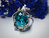 Кільце в сріблі з великим блакитним фианитом Ностальгія, фото 2