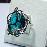 Кільце в сріблі з великим блакитним фианитом Ностальгія, фото 4