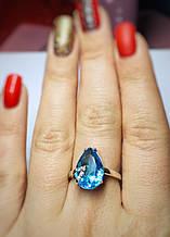 Каплевидное кольцо с голубым фианитом Женева