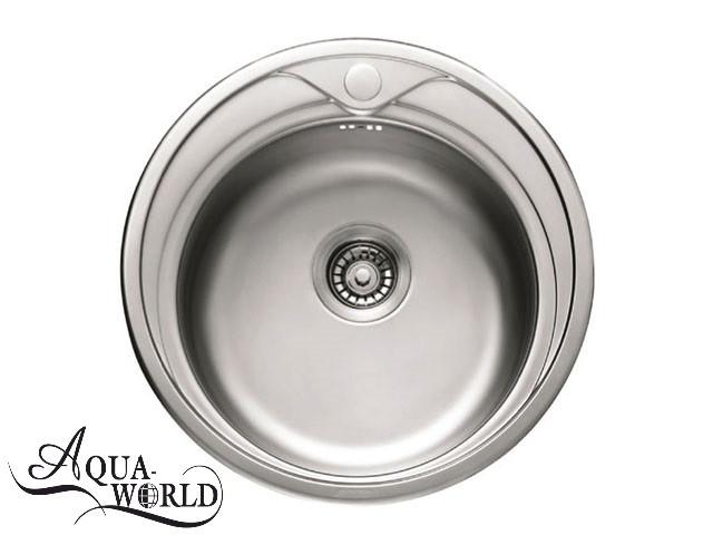 Мойка кухонная нержавеющая сталь круглая 510 мм Aqua-World
