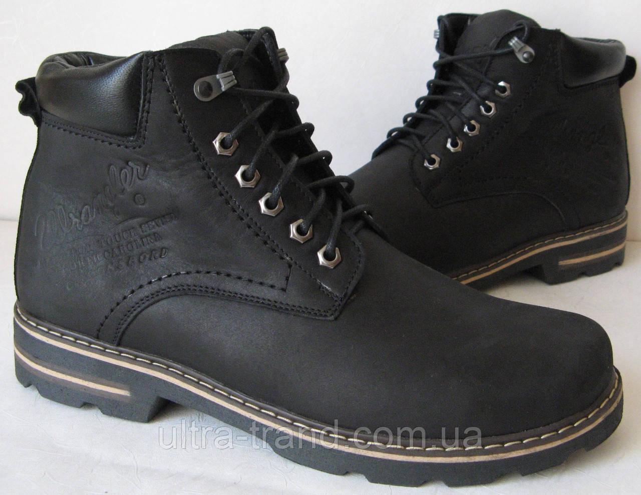 Мужские зимние кожанные ботинки Wrangler черные