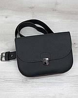 Маленькая сумка T6004 на пояс графитовая через плечо кросс-боди, фото 1
