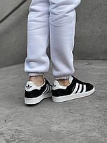 Женские кроссовки в стиле Adidas Gazelle Black/White, фото 3
