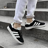 Женские кроссовки в стиле Adidas Gazelle Black/White