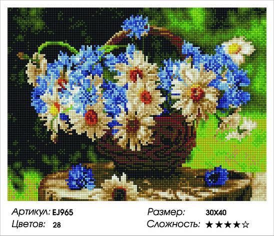 Алмазная живопись 30*40см. EJ965 Ромашки и васильки Rainbow Art , алмазная мозайка, фото 2