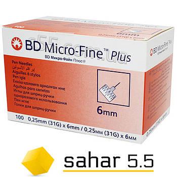 Иглы инсулиновые для шприц-ручек БД Микрофайн Плюс 6мм, 100шт. -BD Micro-Fine Plus