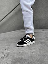 Женские кроссовки в стиле Adidas Gazelle Black/White, фото 2