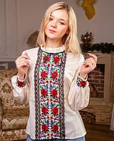 Женская блузка - вышиванка Агнесса , вышивка гладь+кружево, р. 2хл (54-56) молочный, вишиванка