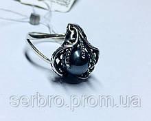 Кольцо с черным жемчугом в серебре Лили