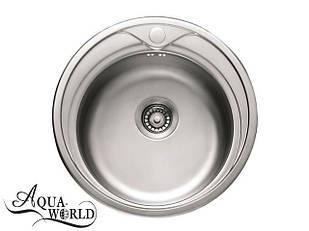 Мойка кухонная нержавеющая сталь круглая 490 мм Aqua-World