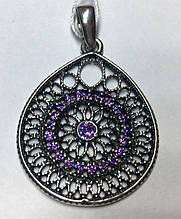 Каплевидный подвес с фиолетовым цирконом серебро