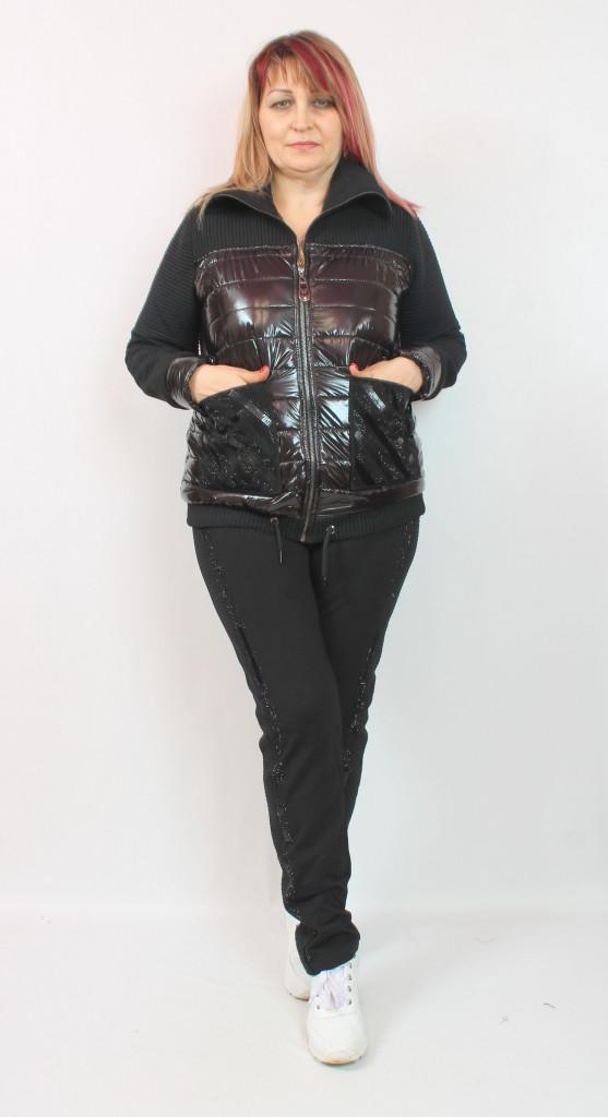 Турецкий женский теплый брючный костюм с курткой, размеры 50 52 54