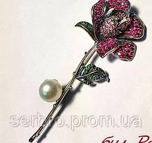 Булавка в серебре с жемчуженой и розово-зеленым цирконом Роза