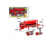 Трейлер пожарная машина со светом и звуком с машинками, фото 1